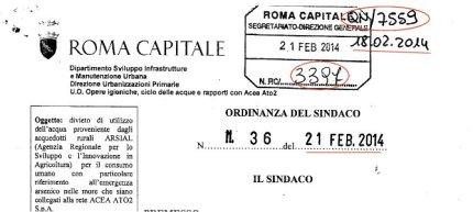 Acqua contaminata Roma ordinanza sindaco