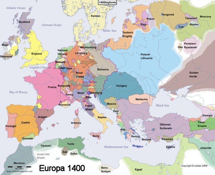 Resultado de imagen de mapa de europa en 1400