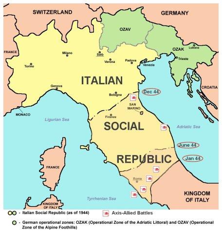 Italy 1943 1944 map Italia Mappa