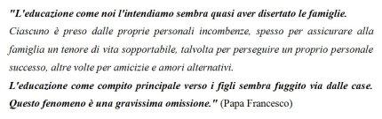 Educazione Famiglia Papa Francesco