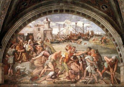 Saraceni Incursione Roma - Vaticano-Stanza dell'incendio di Borgo_La battaglia di Ostia
