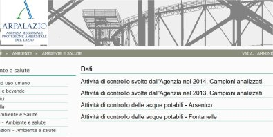Aresenico Acqua ARPA Lazio 2014