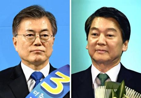 liberal Moon Jae-in, left, centrist Ahn Cheol-soo, right