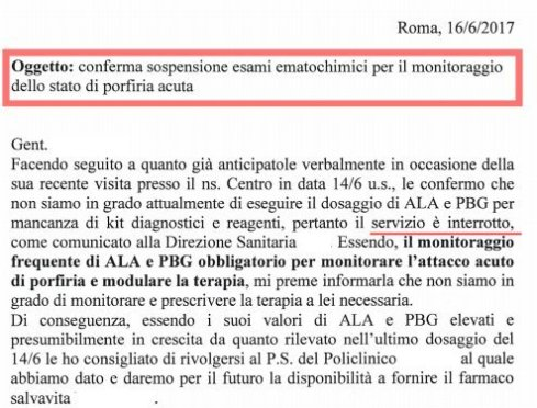 esaurimento kit diagnostici porfirie acute