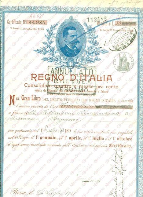 1901-REGNO-DITALIA-Certificato-di-rendita-su-Debito