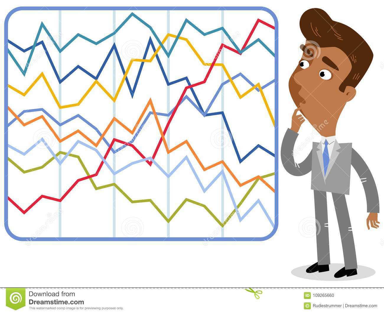 vector-l-illustrazione-di-un-uomo-d-affari-asiatico-confuso-del-fumetto-che-esamina-le-statistiche-variopinte-complicate-109265660